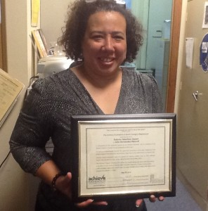 Julia Ribicoff with the Dubrow Award, a proclamation from Assemblywoman Mila Jasey.