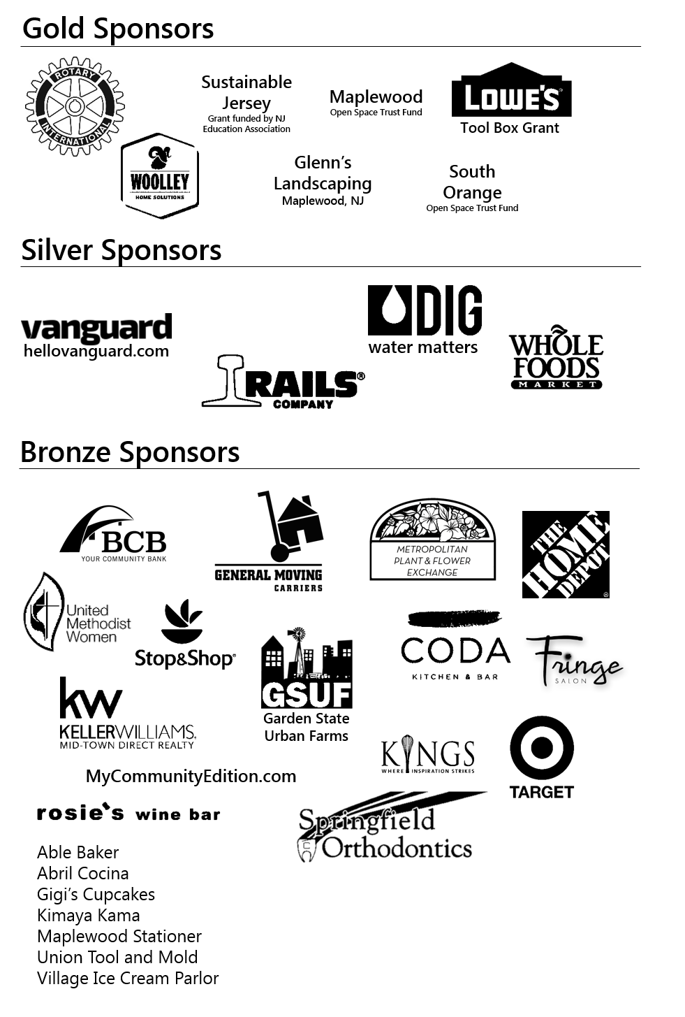 Outdoor Learning Center sponsors