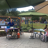 volunteer in the outdoor learning center
