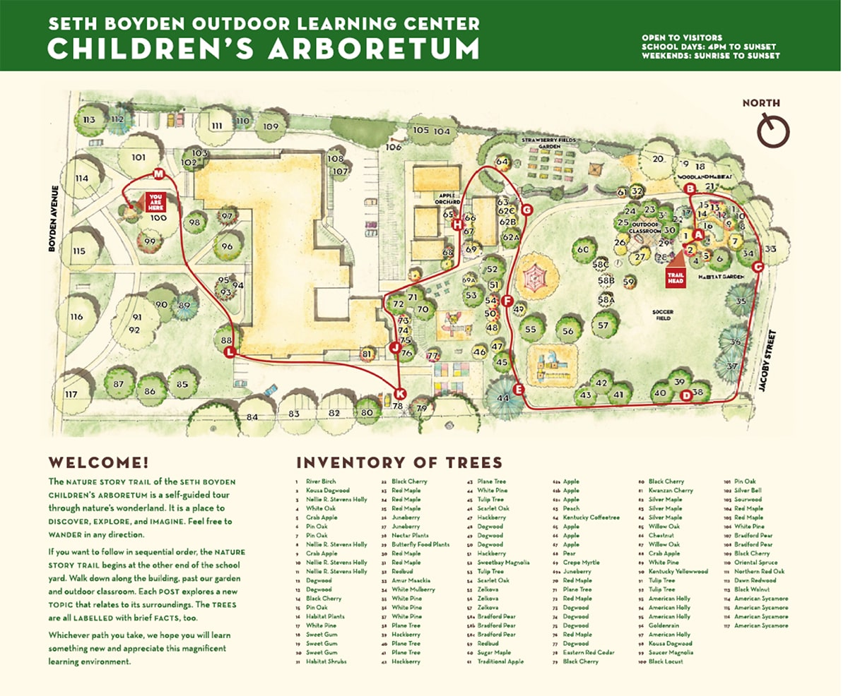arboretum map and sign
