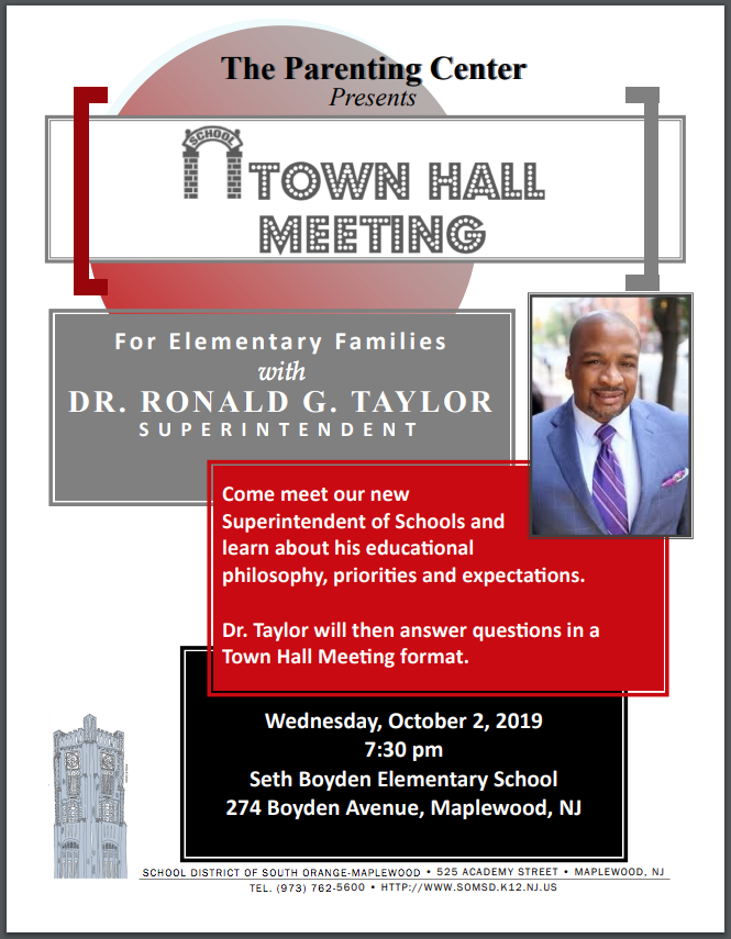 Town Hall with superintendent flyer
