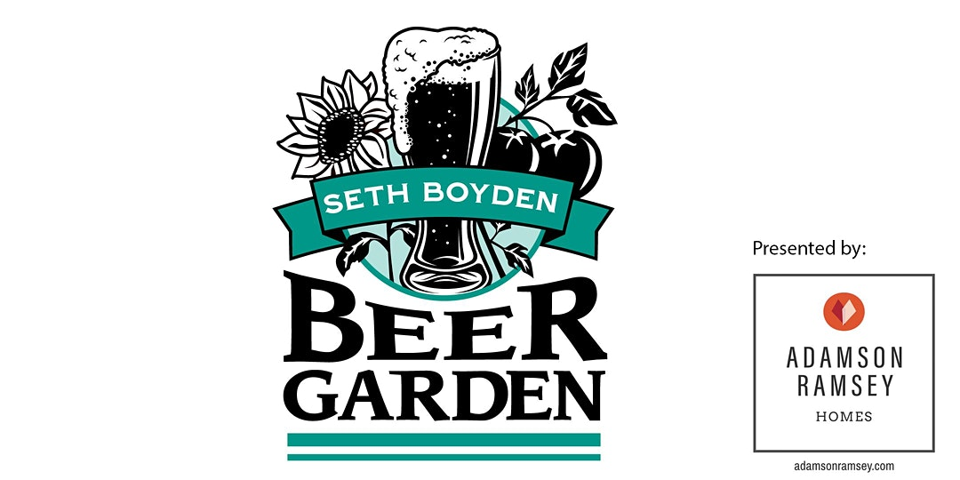 2020 beer garden auction logo with presented by logo