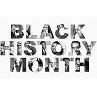 black history month text with historical figure photos