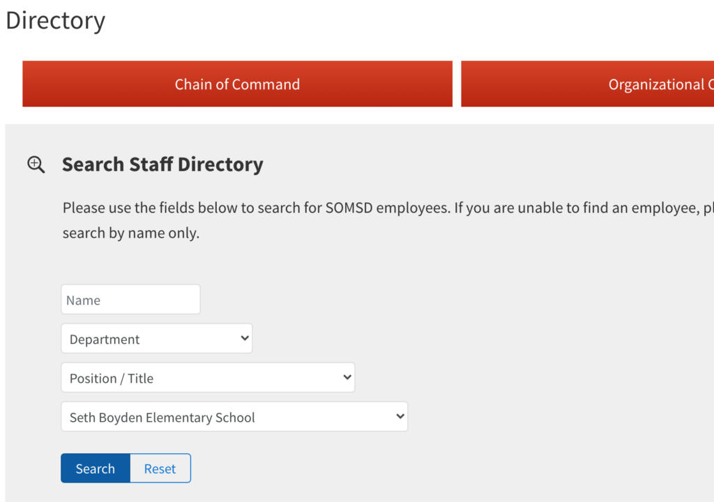 screen shot of district faculty search interface